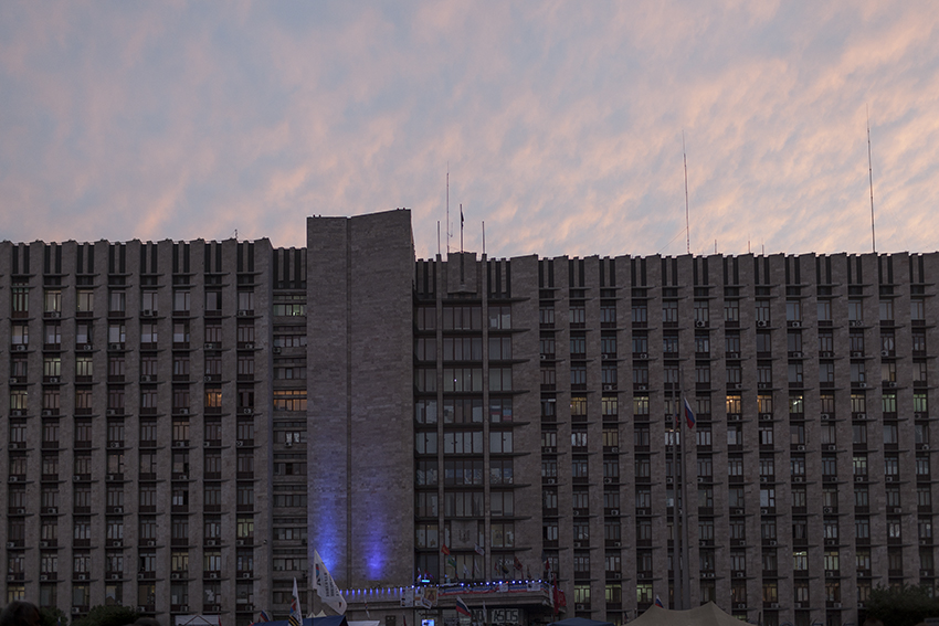 "The occupied regional administration building in central Donetsk, known as the ""Rada""."