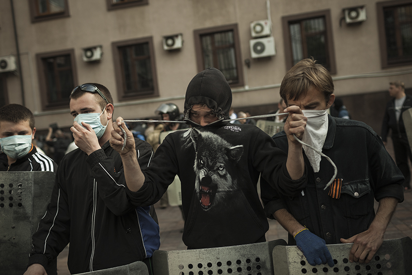 Anti-Maidan activist during the occupation of Donetsk's prosecutors office on May 1st, which effectively shut down the last institution of Ukrainian state authority in the city.