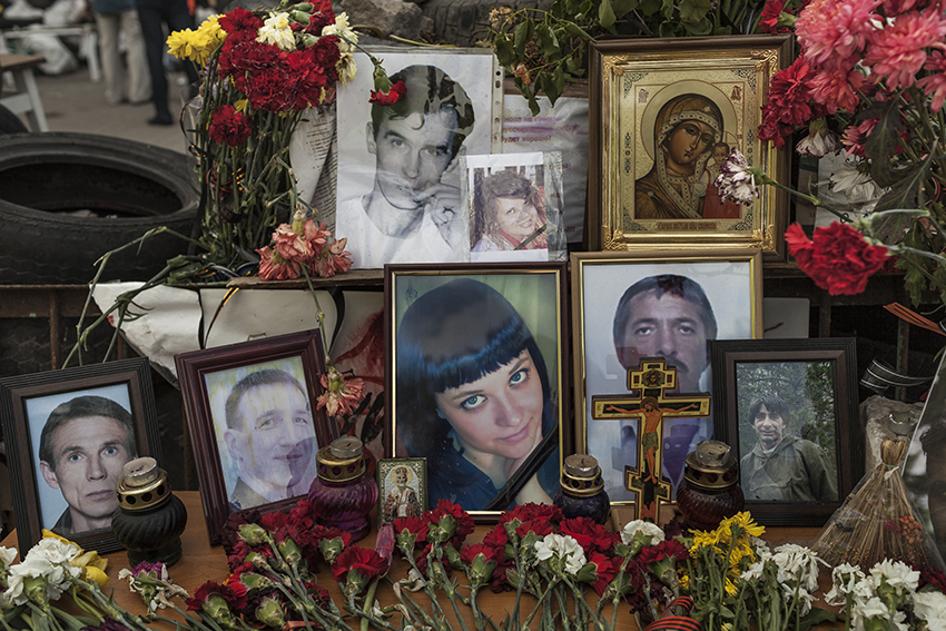 Portraits of people killed by Ukrainian government forces on the barricades around the occupied administration building of Kramatorsk, another anti-Maidan stronghold near Slavyansk.