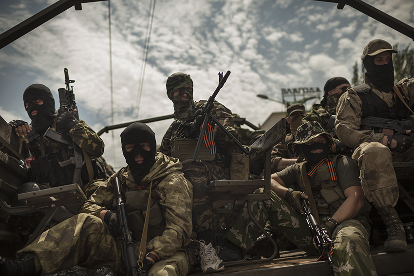 The Vostok battalion returns to central Donetsk in a show of force on the 25th of May, the day of Ukraine's presidential election which did not take place in any of the cities where  the Donetsk People's Republic was in control.