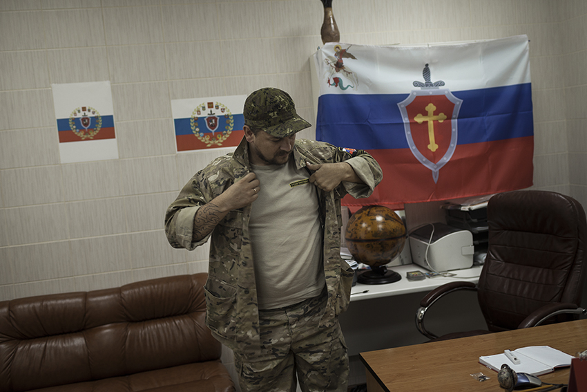 The commander of the Russian Orthodox Army, one of the most organized anti-Maidan militias, in his office at the occupied SBU (Security Service of Ukraine) building in Donetsk.