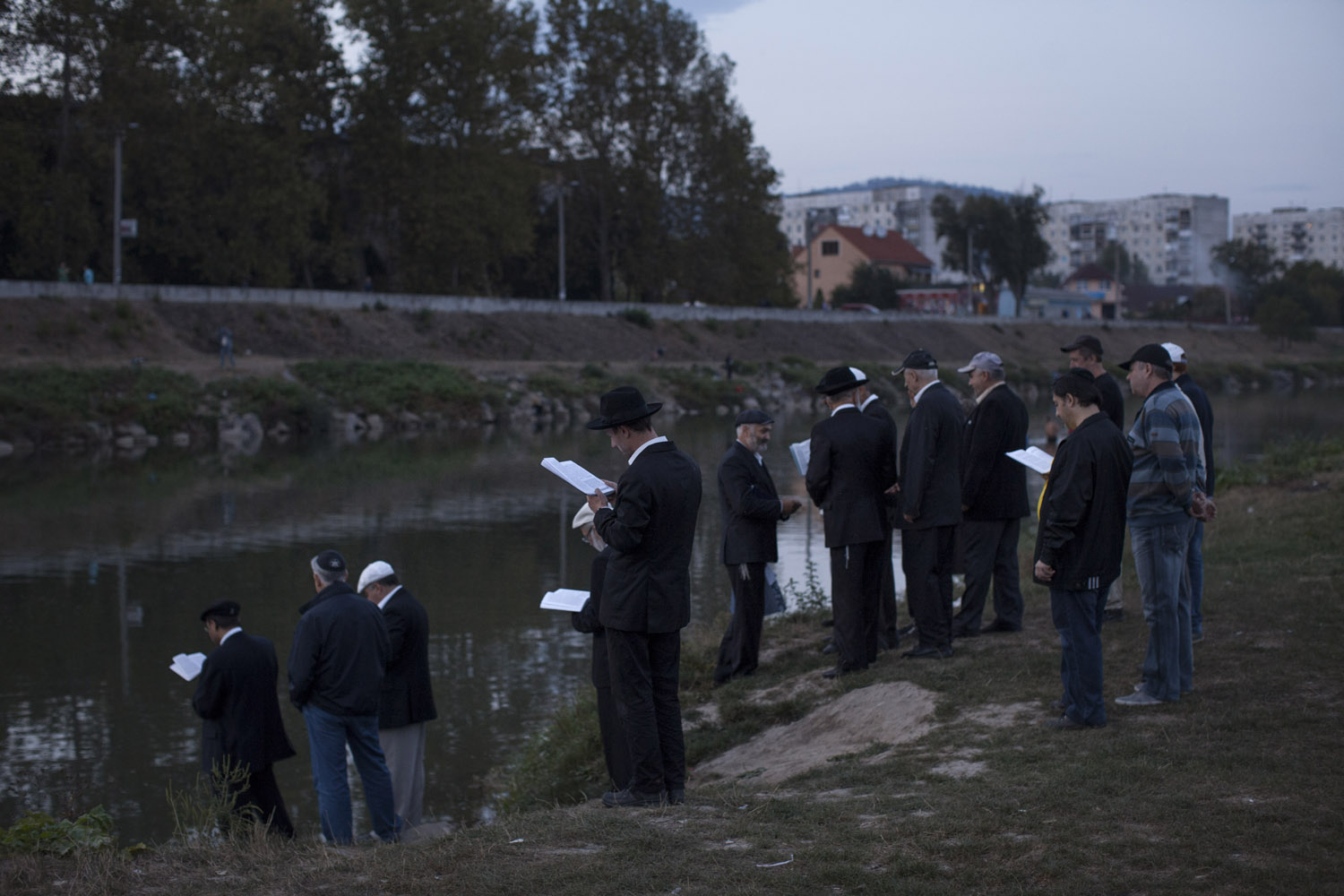Jews gather in Mukacheve for the ritual of Tashlich. On the first day of the year, it is tradition to go to a river (or to a lake, as long as it has fish in it), and cast the sins and misconceptions of the past year into the water.