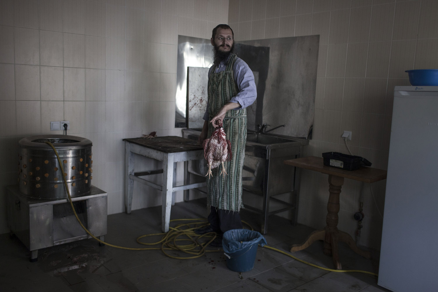 Alexander is the shochet (ritual slaughterer) of Mukacheve, and the last active one in the region. There aren't many people who eat kosher around so he is thinking to move somewhere else, probably to Israel, where he could get more work.