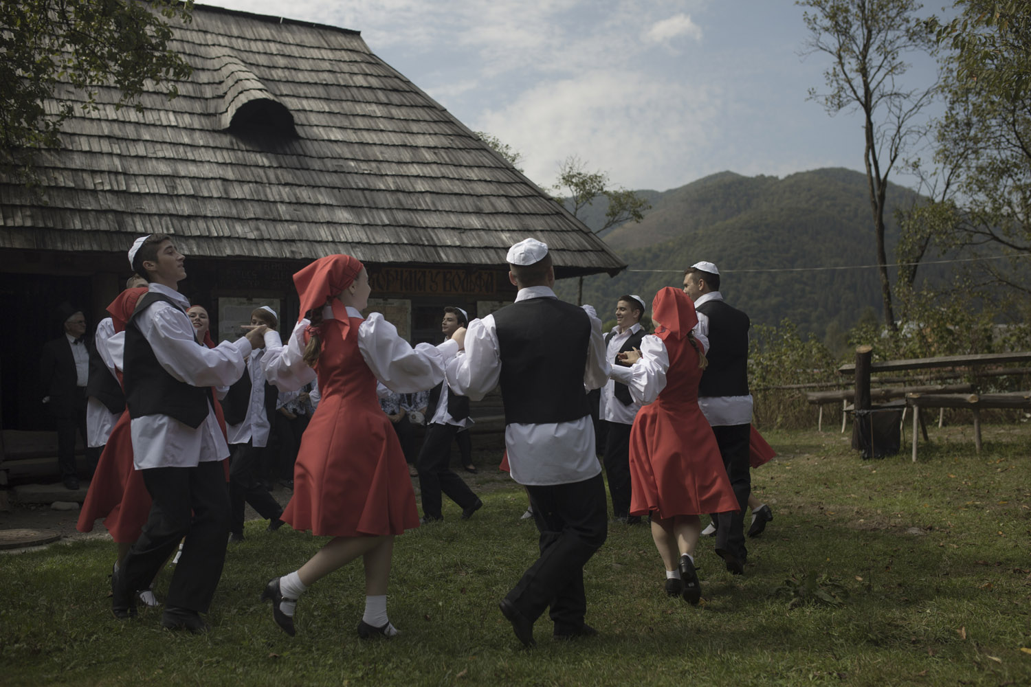 Jewish traditional dances at Kolochava's Jewish Culture Festival, held in the local historical museum, which includes the reconstruction of a synagogue and of a certain Jewish-owned bar that apparently was the town's main hangout spot.