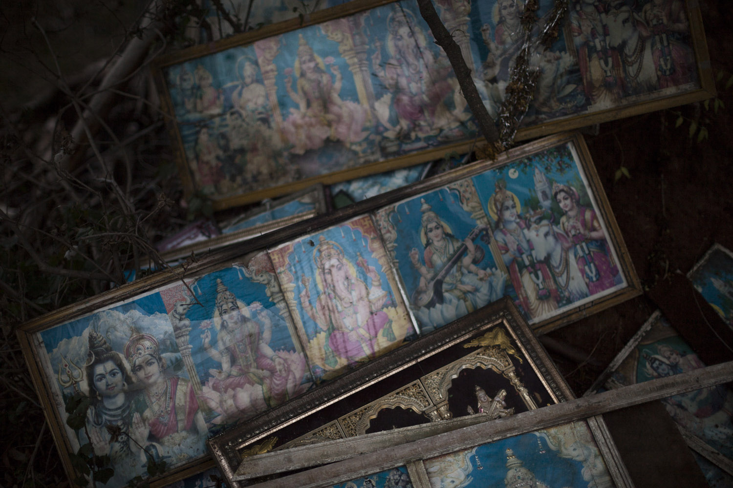 Images of gods left under a tree in a countryside shrine in Karadakere.