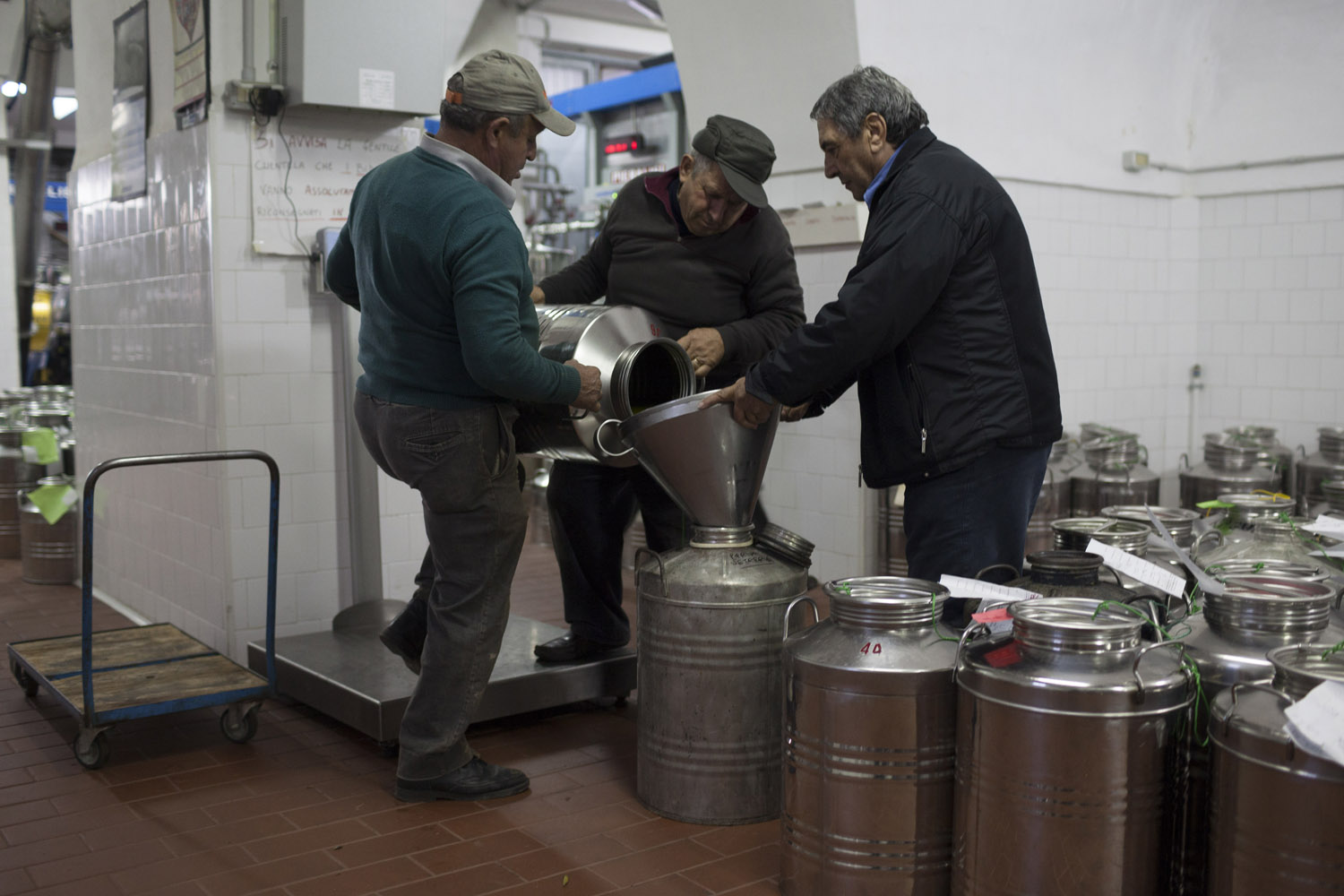 "For three generations, the Convertini family has been making olive oil at their ""trappeto"" (olive mill) in Locorotondo. Countless families in Puglia own at least a few olive trees somewhere, and rely on small-scale mills such as this one to make the oil they consume over the year. (2012)"