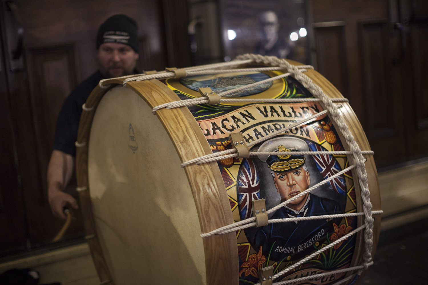 "A traditional Lambeg drum plays its threatening tune in front of Ulster Hall, in central Belfast, at a gathering of hard-line loyalist activists against what they call the ""Betrayal Act"", Boris Johnson's proposed Brexit deal, just a few days before the elections. In face of widespread Catholic and European opposition to the return of a land border with the rest of Ireland, the British prime minister has opted to leave Northern Ireland in a customs union with the EU, in turn infuriating unionists and loyalists."